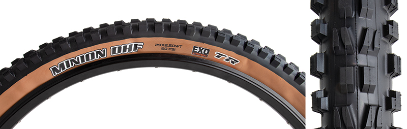Maxxis Minion DHF Tire EXO, 29 x 2.5 Folding Black//Dark Tan Tubeless Dual