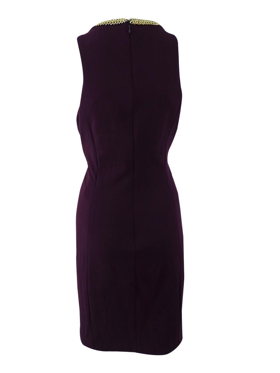 Calvin-Klein-Women-039-s-Chain-Link-Sheath-Dress thumbnail 4
