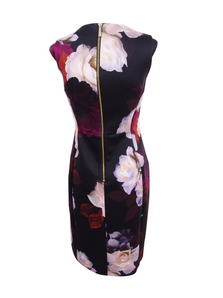 Calvin-Klein-Women-039-s-Petite-Printed-Sheath-Dress thumbnail 4