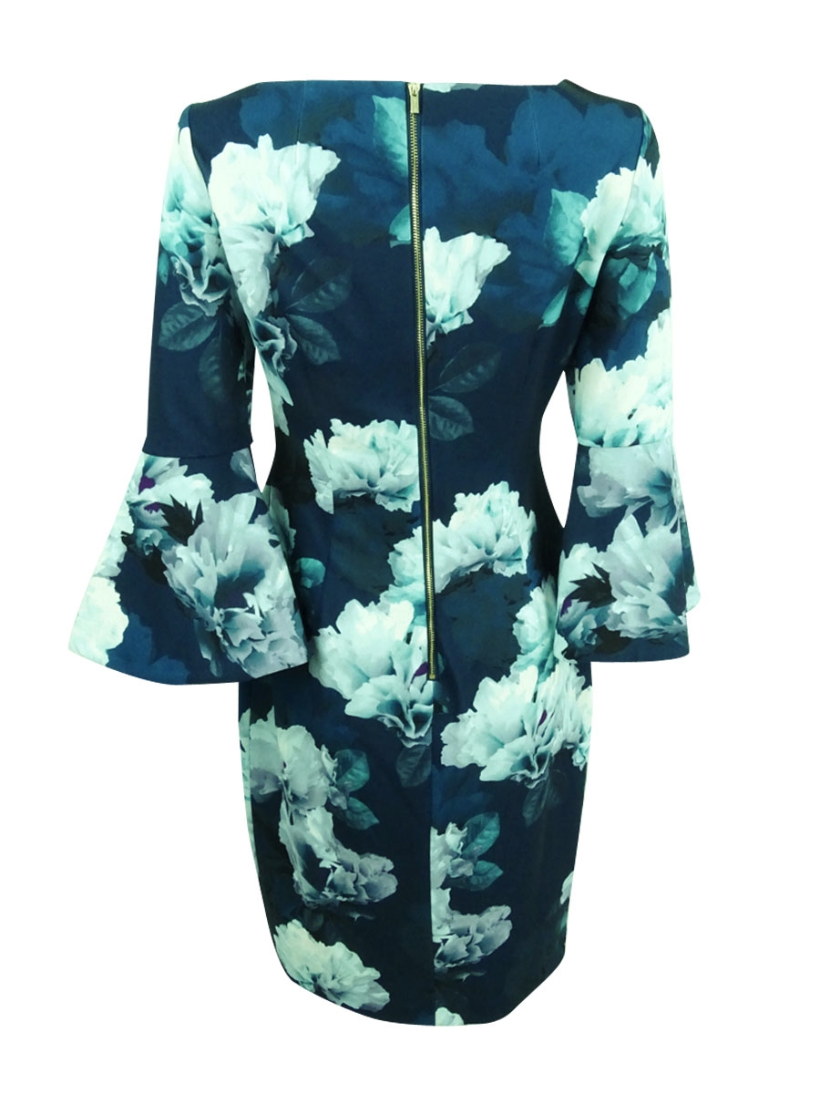 Calvin-Klein-Women-039-s-Floral-Print-Bell-Sleeve-Sheath-Dress thumbnail 4