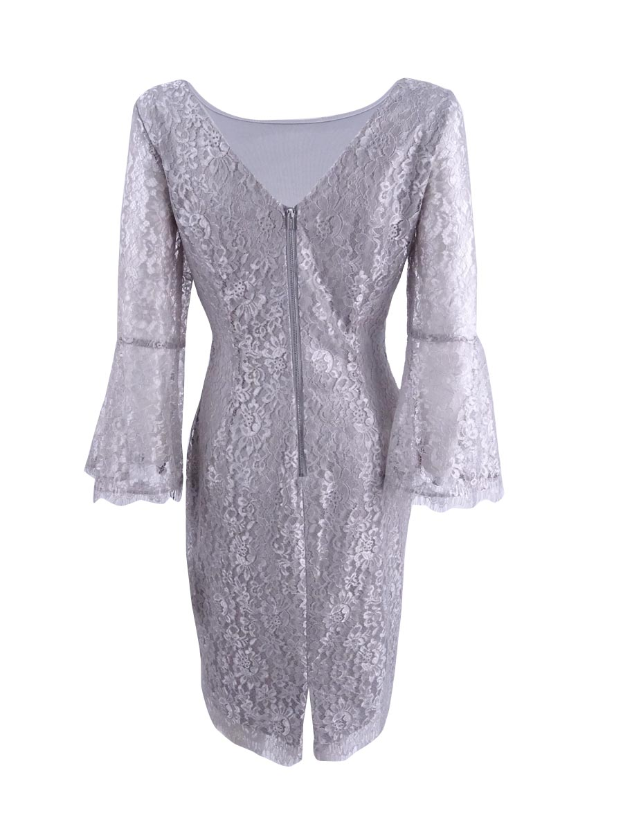 37dcb29f915f Calvin Klein Womens Gray Metallic Lace Bell Sleeve Party Dress 12 ...