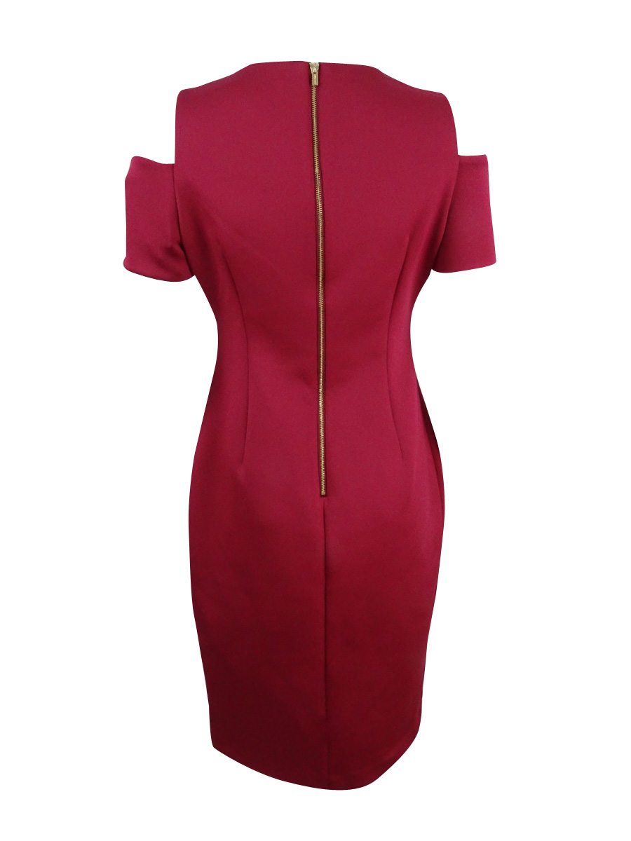 Calvin-Klein-Women-039-s-Cold-Shoulder-Sheath-Dress thumbnail 10