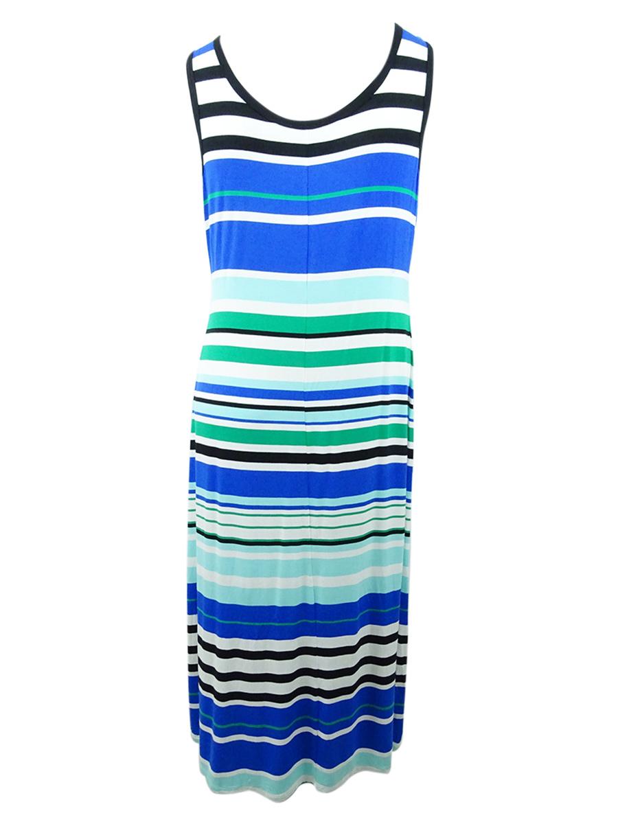 Calvin-Klein-Women-039-s-Plus-Size-Striped-Maxi-Dress thumbnail 4