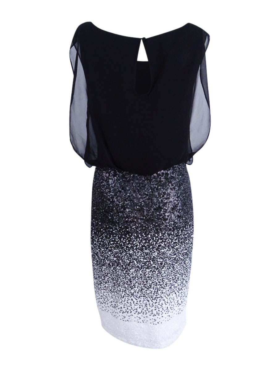 Calvin-Klein-Women-039-s-Sequined-Blouson-Sheath-Dress thumbnail 4
