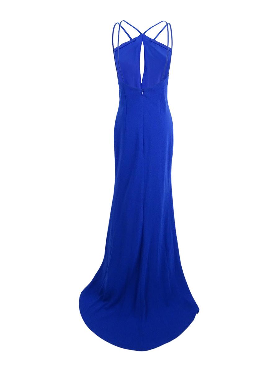 Calvin Klein Womens Blue Sleeveless Halter Evening Dress Gown 10