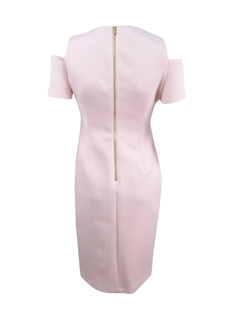 Calvin-Klein-Women-039-s-Cold-Shoulder-Sheath-Dress thumbnail 8