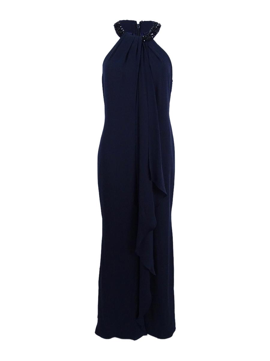 Calvin Klein Beaded-neck Halter Gown Size 12 # CN 2276 | eBay