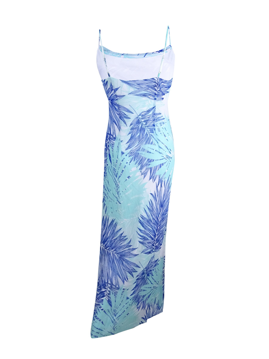 Calvin-Klein-Women-039-s-Tropical-Print-Chiffon-Maxi-Dress thumbnail 4