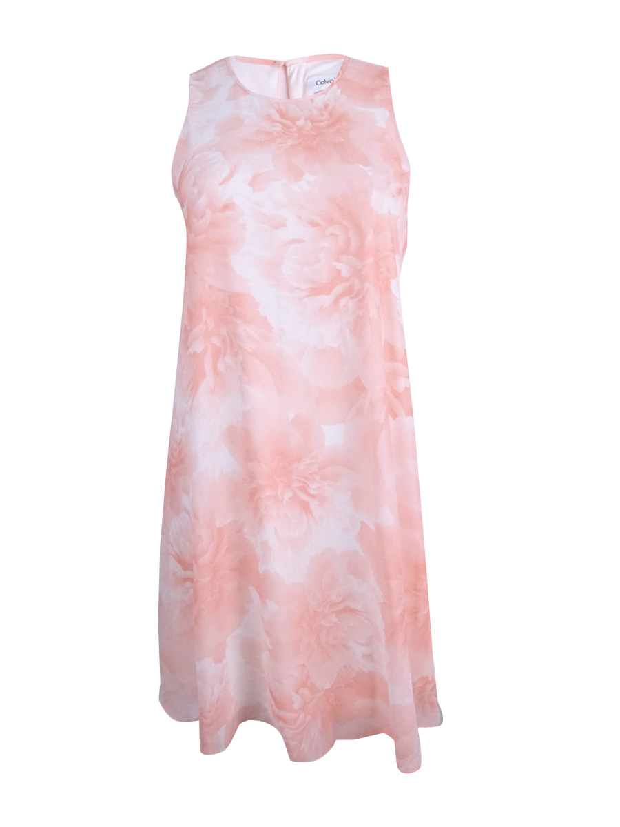 Calvin Klein Women\'s Plus Size Floral-Print Trapeze Dress 14W, Peach ...