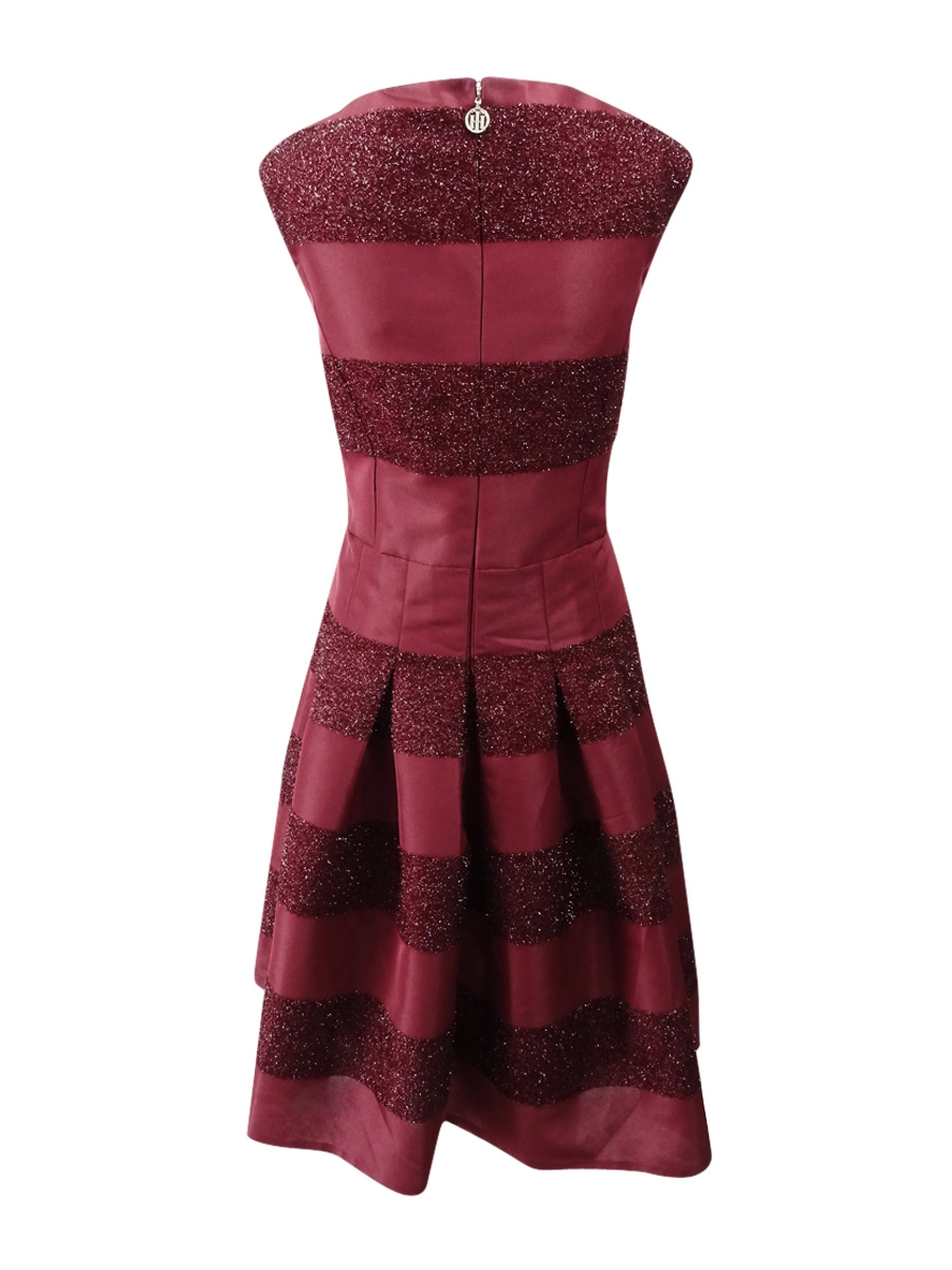 Tommy-Hilfiger-Women-039-s-Striped-Fit-amp-Flare-Dress thumbnail 8