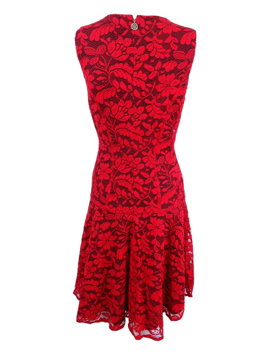 Tommy-Hilfiger-Women-039-s-Drop-Waist-Lace-A-Line-Dress thumbnail 4