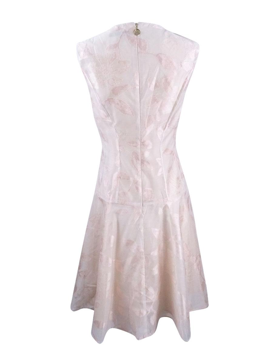 Tommy-Hilfiger-Women-039-s-Floral-Brocade-Drop-Waist-Dress thumbnail 4