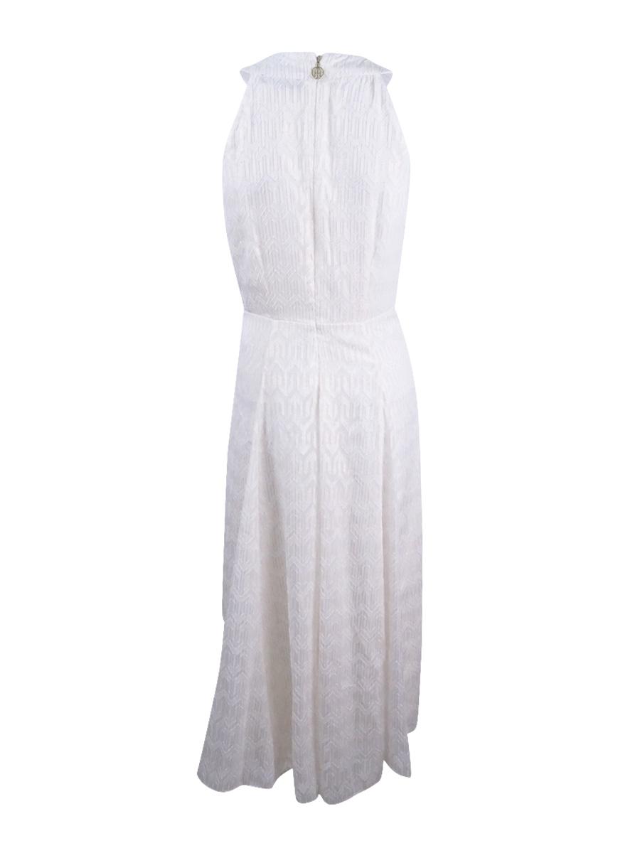 Tommy Hilfiger White Women Size 12 Textured Metallic Chevron Dress ...