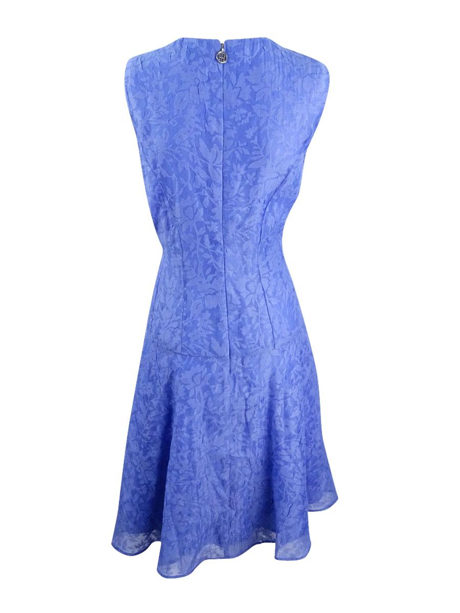 Tommy-Hilfiger-Women-039-s-Floral-Print-A-Line-Dress-10-Periwinkle thumbnail 4