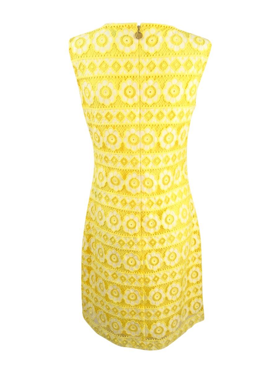 Tommy-Hilfiger-Women-039-s-Floral-Lace-Sheath-Dress miniature 4