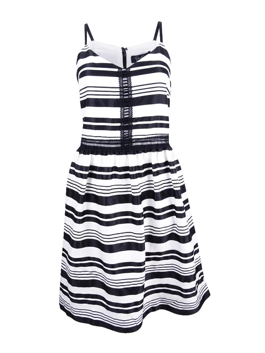 Jessica Simpson White Women S Size 12 A Line Striped Crochet Dress