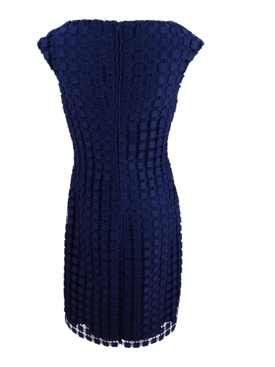 Lauren-by-Ralph-Lauren-Women-039-s-Geometric-Square-Lace-Dress thumbnail 4