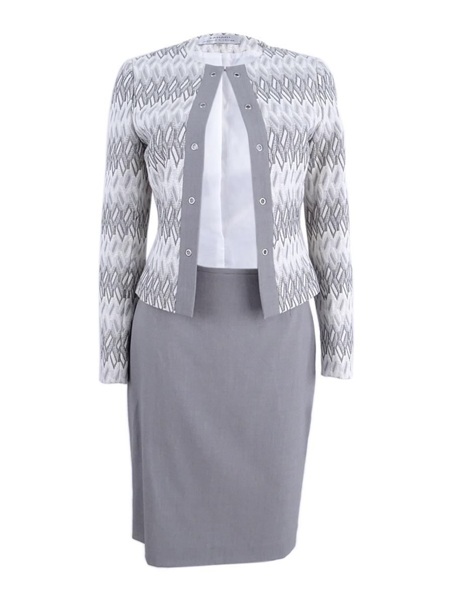 8dd4d9d2b66a Tahari ASL Women's Jacquard Skirt Suit (8, Ivory/Grey) 191151122113 ...