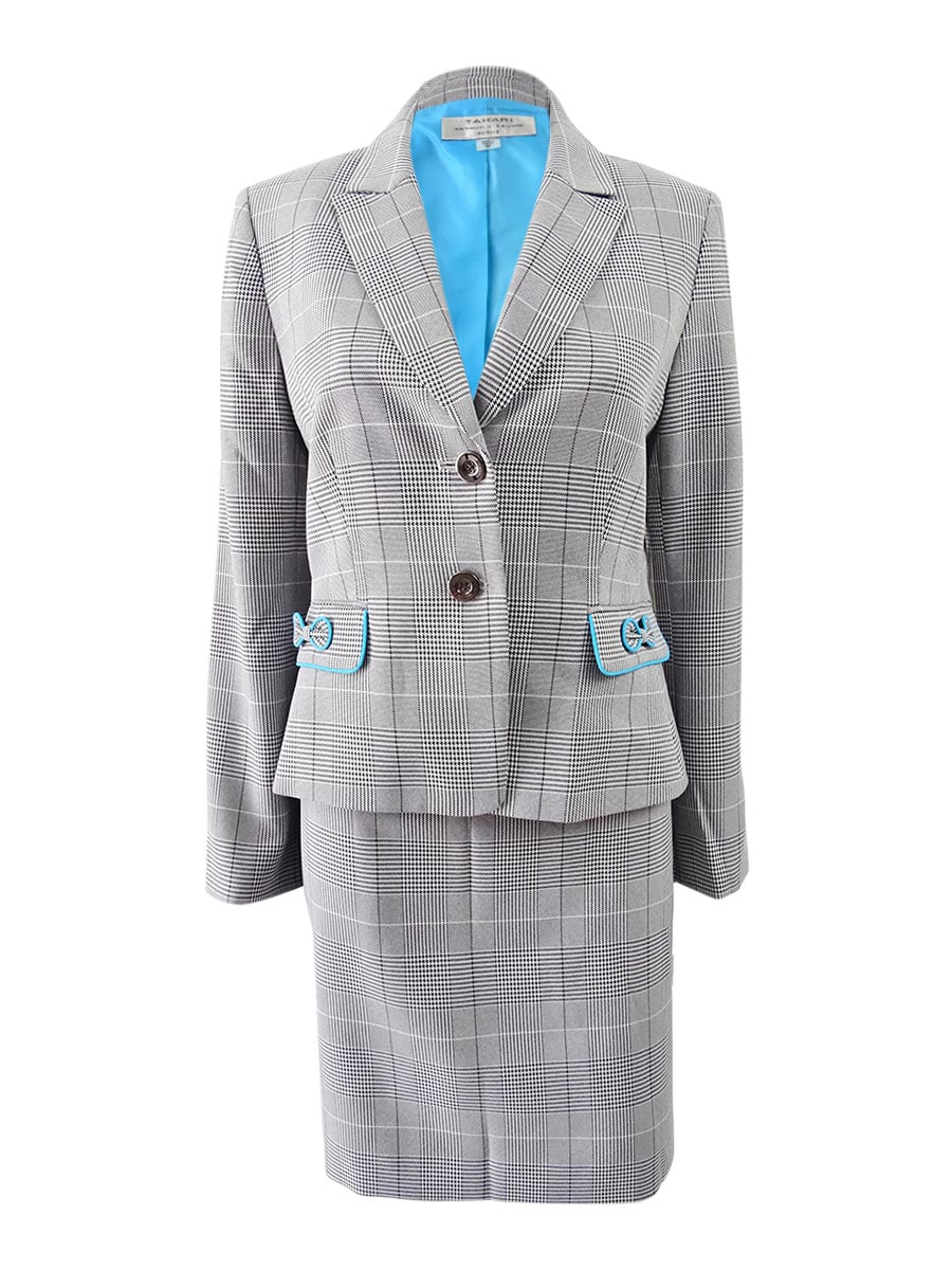 4f6aebe935957 Tahari ASL Women's Bow-Trim Skirt Suit (4, Grey/Ivory/Black