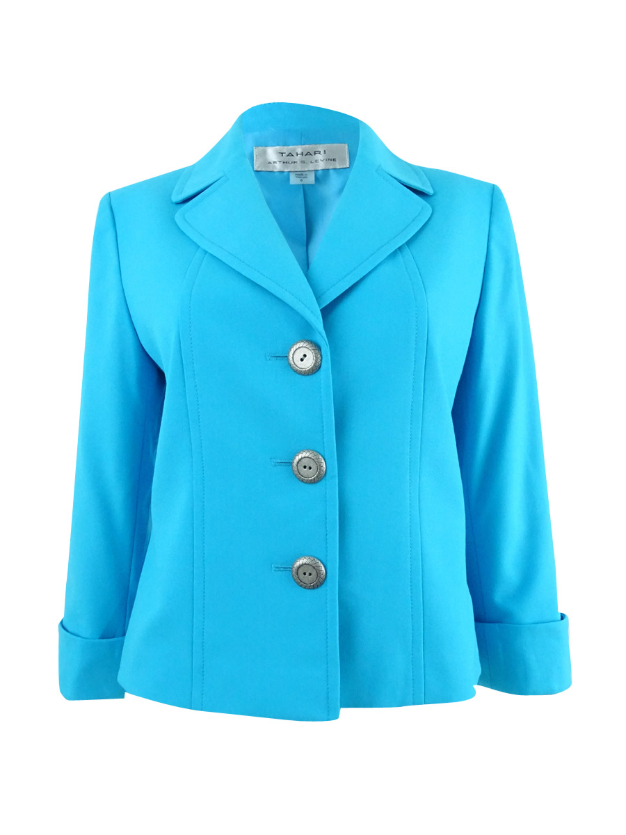 aa757897559 Tahari by ASL Blue Women s Size 4 Three Button Cuffed Blazer  162. About  this product. Picture 1 of 4  Picture 2 of 4  Picture 3 of 4 ...