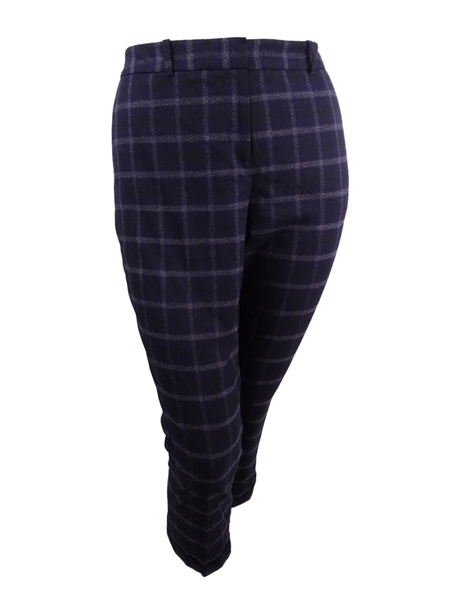 b66eb7c3299be Tahari ASL Women's Plaid Skinny Pants (18, Purple/Ivory)