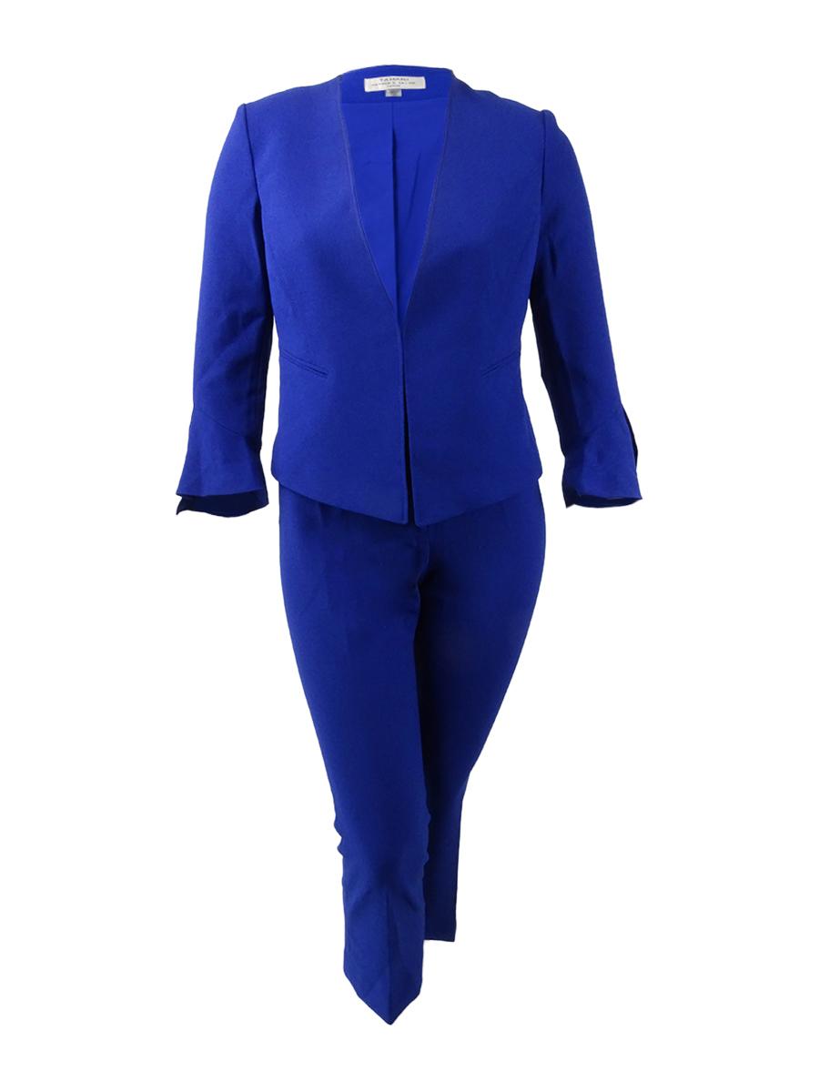 Tahari Asl Women S Collarless Pebble Crepe Jacket 14 Sapphire Ebay