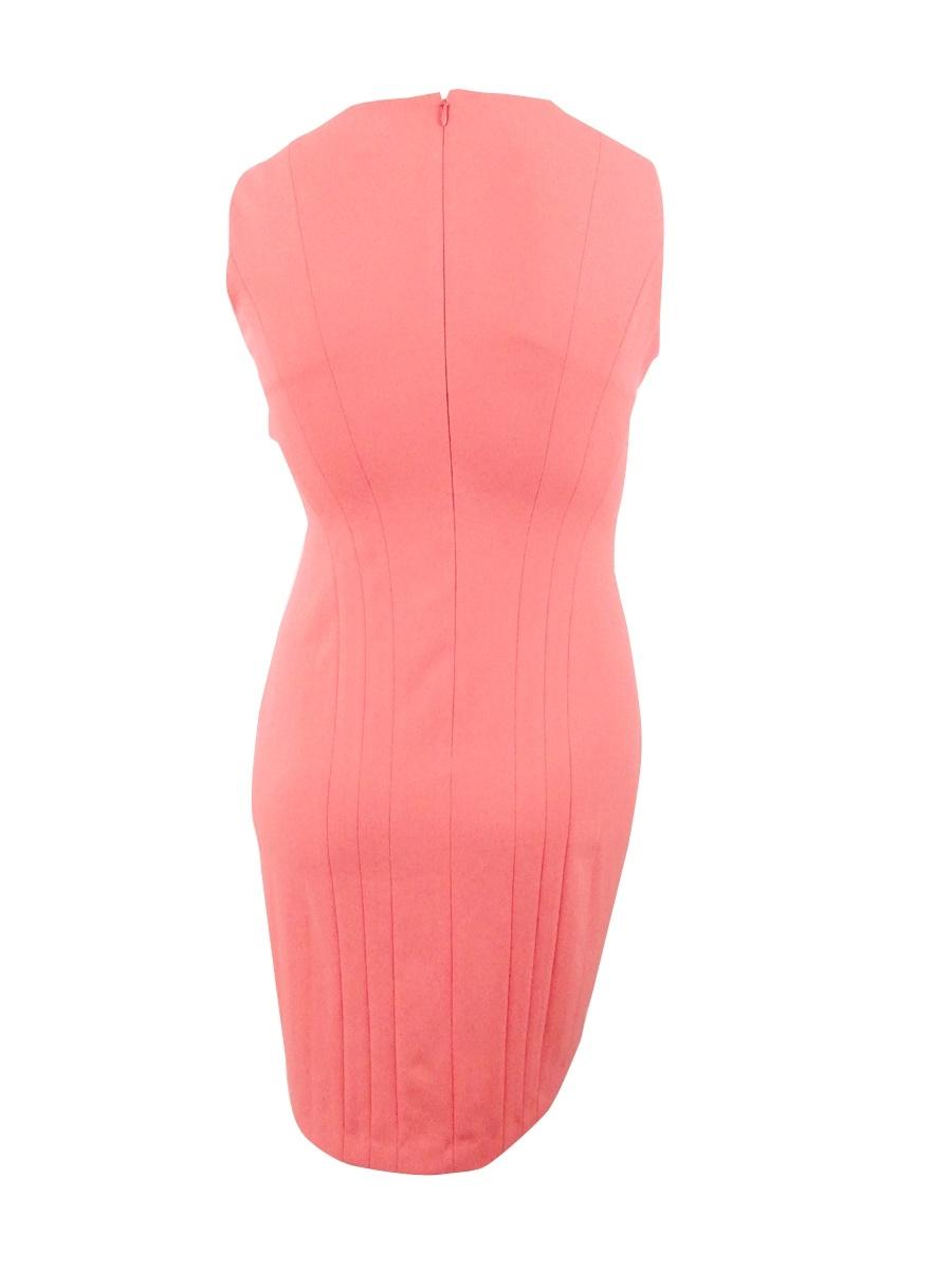 Calvin-Klein-Women-039-s-Sleeveless-Split-Neck-Sheath-Dress thumbnail 6