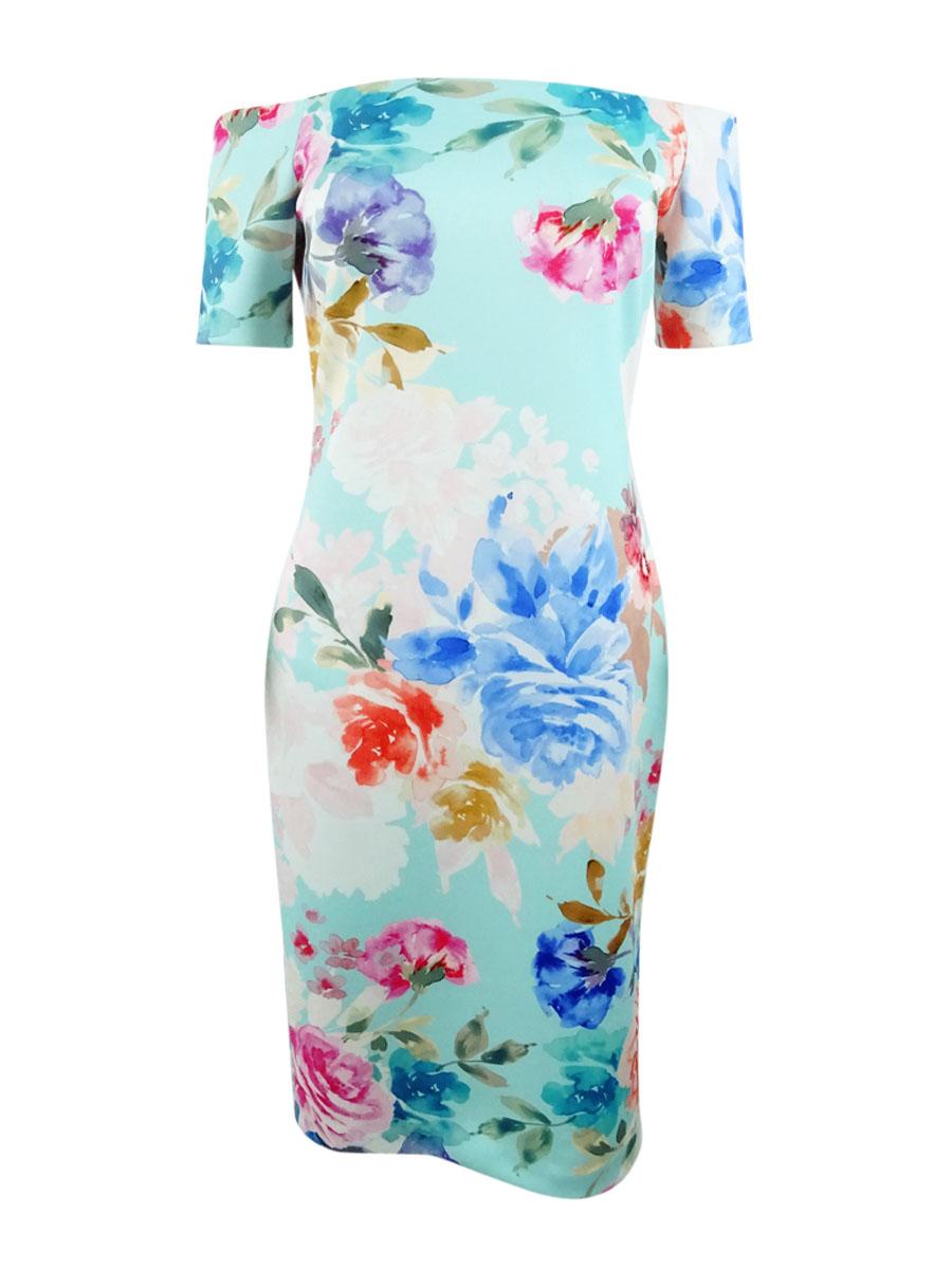 e2b9e870095b Calvin Klein Women's Off-The-Shoulder Floral Scuba Dress | eBay