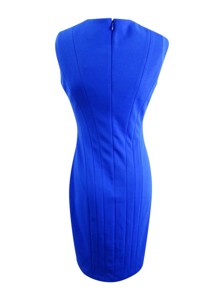 Calvin-Klein-Women-039-s-Sleeveless-Split-Neck-Sheath-Dress thumbnail 4