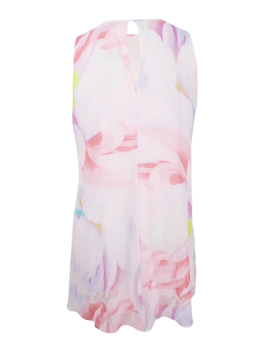 Calvin-Klein-Women-039-s-Plus-Size-Printed-Trapeze-Dress thumbnail 4