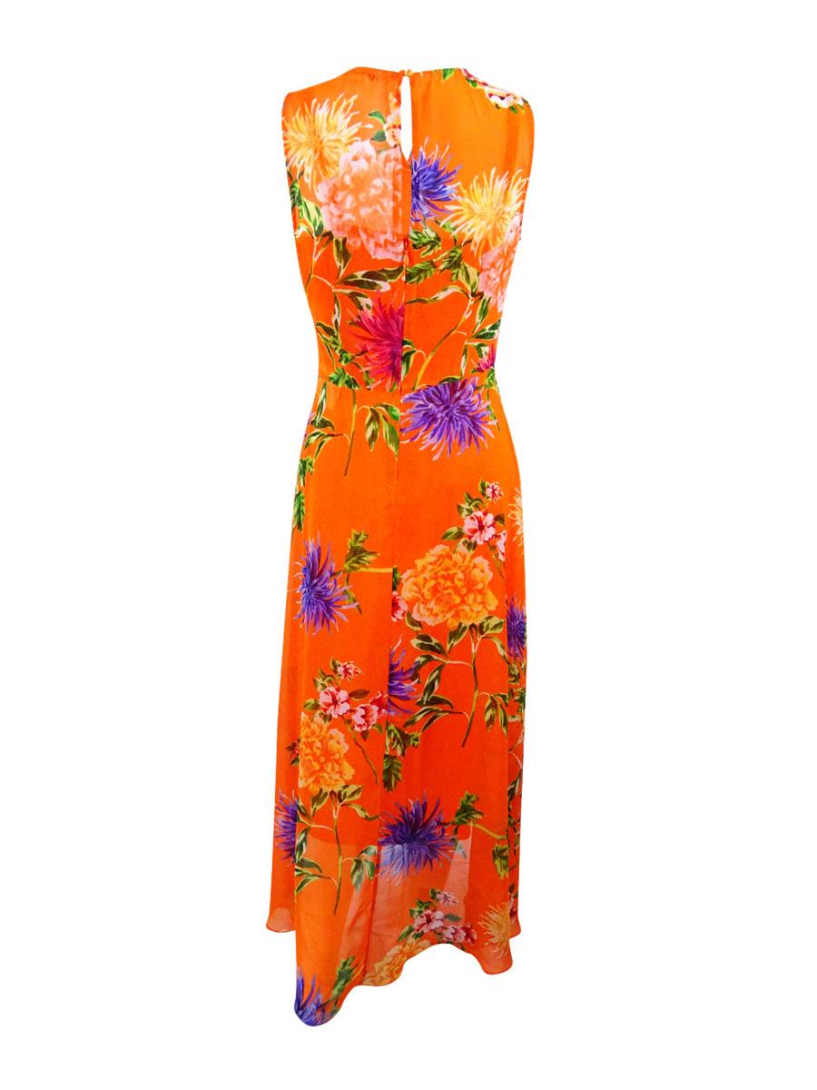 Calvin-Klein-Women-039-s-Surplice-Floral-Print-Dress-2-Orange-Multi thumbnail 4