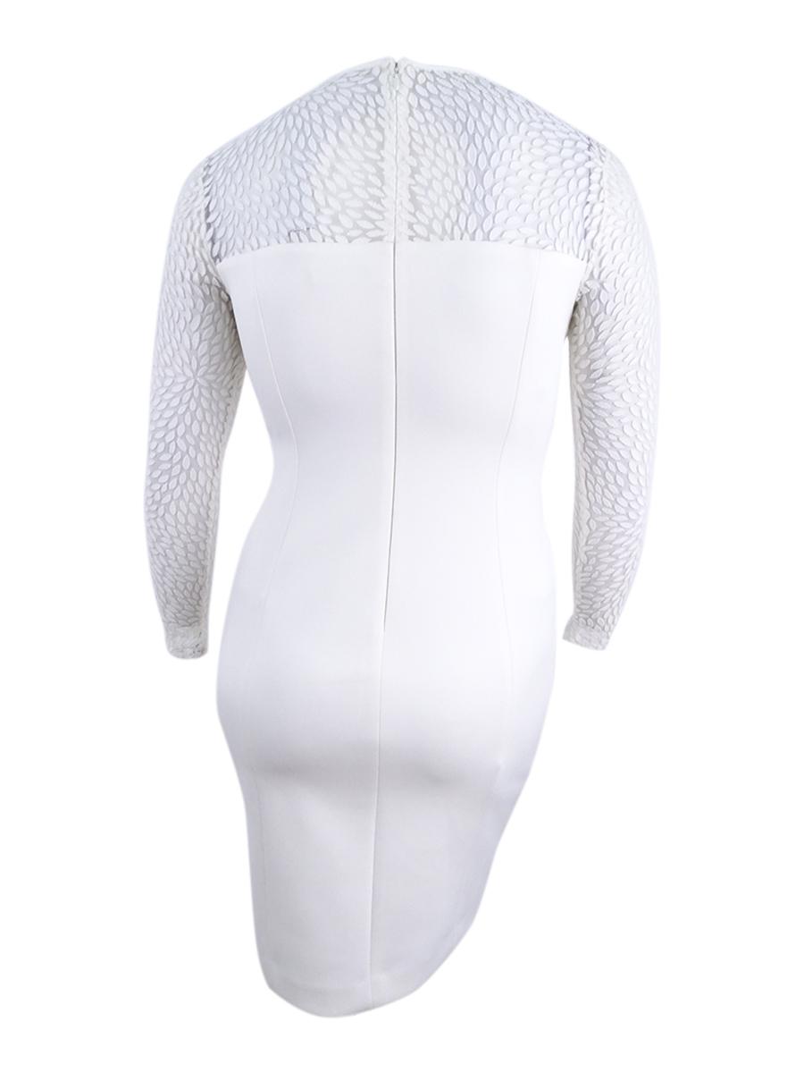 Calvin-Klein-Women-039-s-Illusion-Scuba-Sheath-Dress thumbnail 4