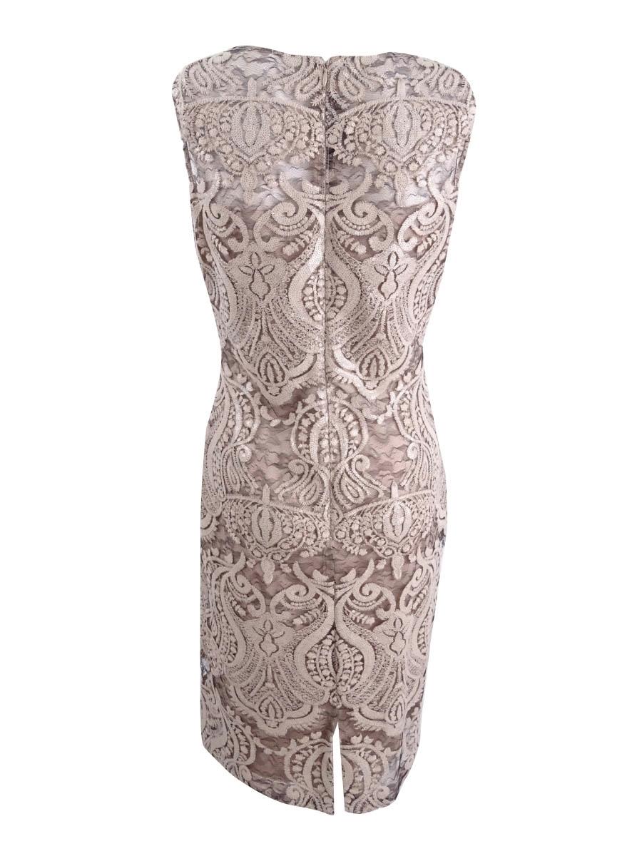 Calvin Klein Womens Sequined Lace Illusion Sheath Dress
