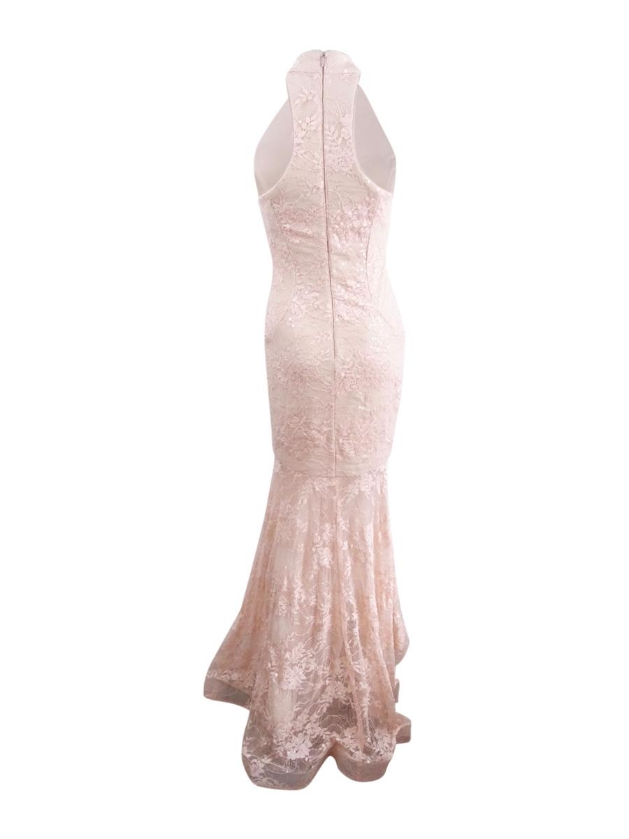 Xscape-Women-039-s-Sequined-Lace-Mermaid-Halter-Gown thumbnail 4