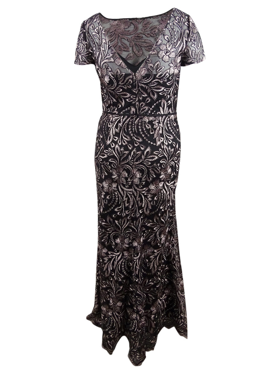 JS-Collections-Women-039-s-Embroidered-Mermaid-Gown thumbnail 4