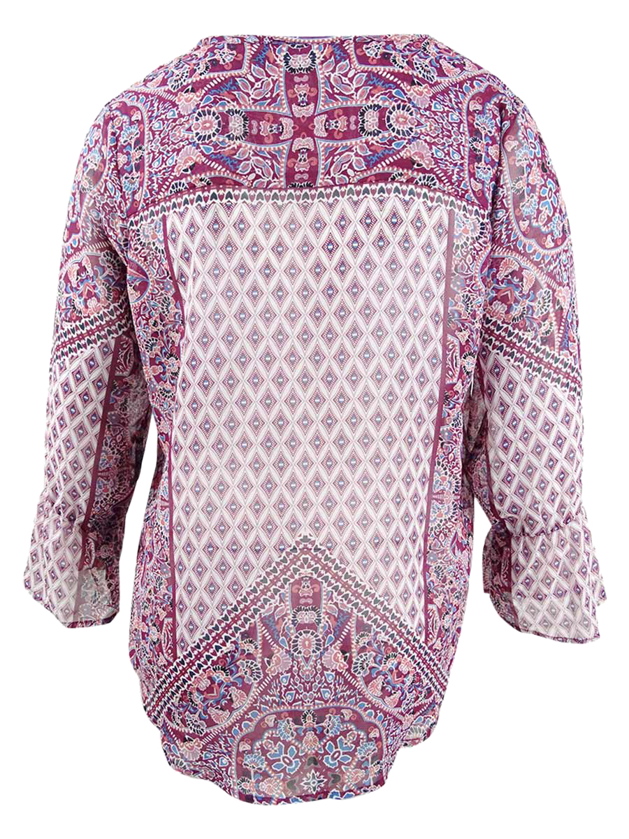 Style-amp-Co-Women-039-s-Plus-Size-Mixed-Print-V-Neck-Peasant-Top thumbnail 4