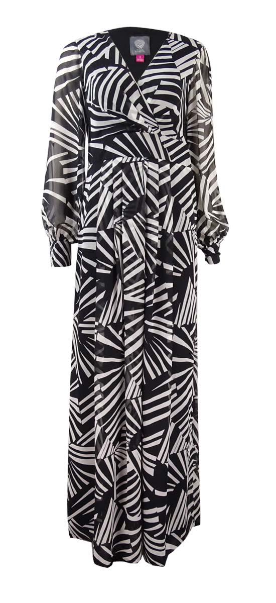 98b9c5f2 Details about Vince Camuto Women's Pleated Chiffon Maxi Print Dress 2,  Black/White