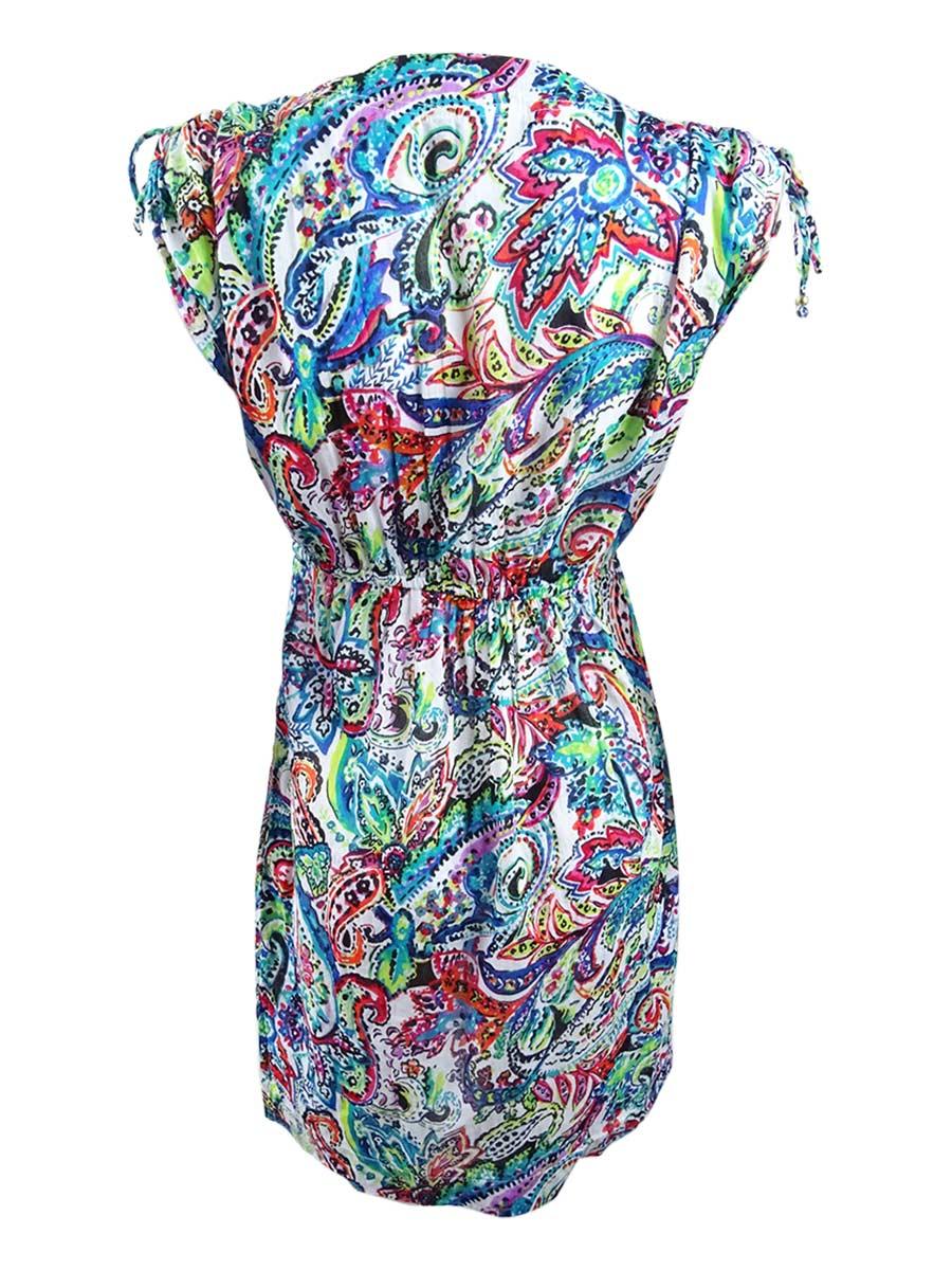 146ff34f61fa9 Lauren by Ralph Lauren Women's Cabana Cotton Paisley Farrah Cover-Up ...