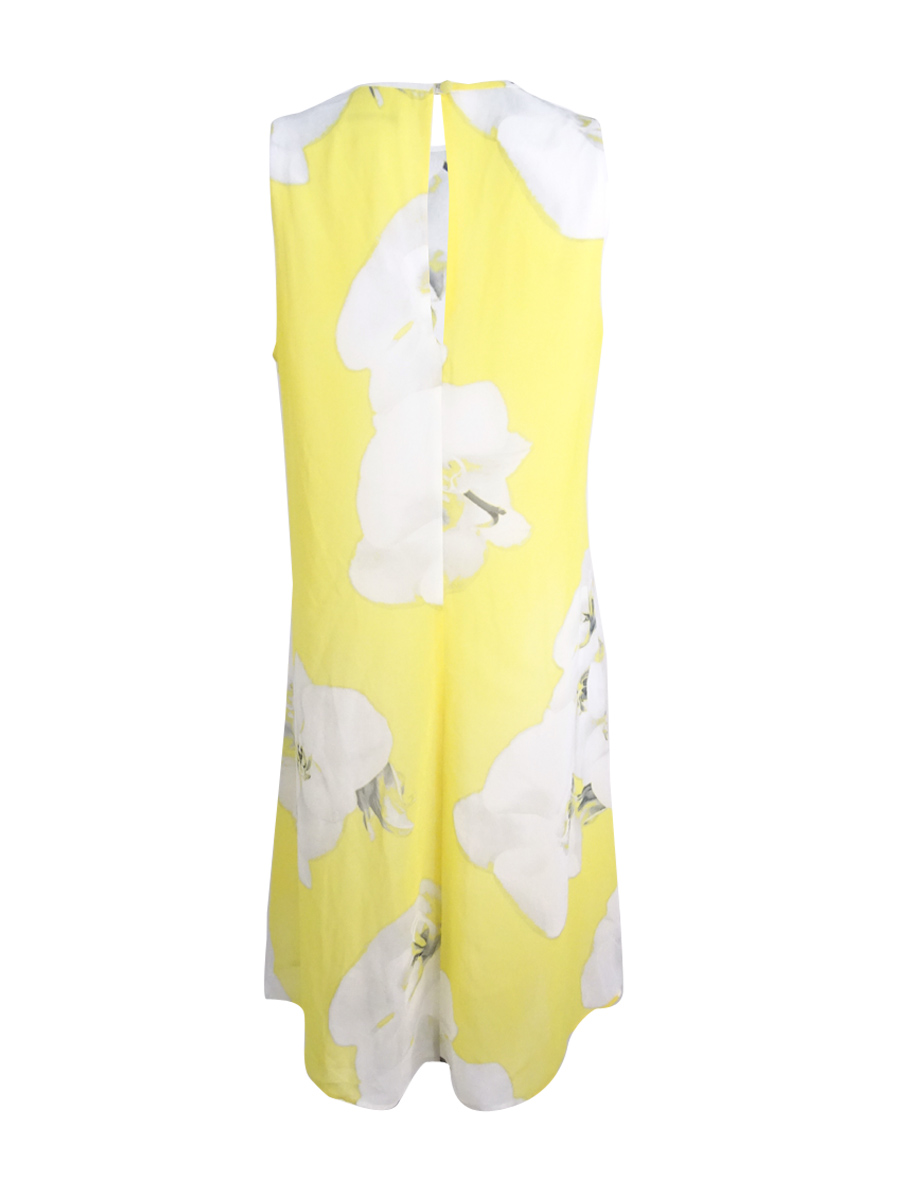 Calvin-Klein-Women-039-s-Sleeveless-Trapeze-Dress-14-Popcorn-Multi thumbnail 4