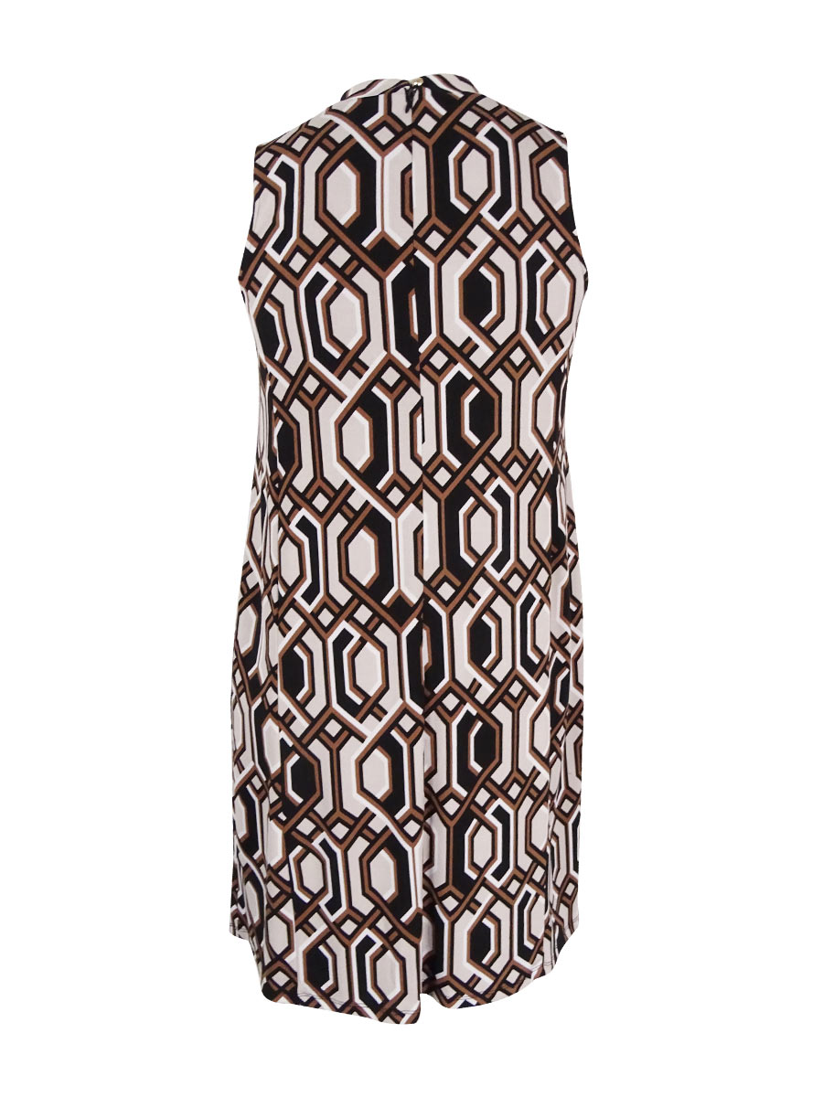 INC-International-Concepts-Women-039-s-Plus-Printed-Shift-Dress-0X-Hexagon-Geo thumbnail 4