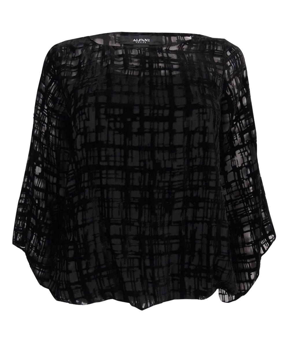 4932aeb843b Alfani Black Women s Size 0x Velvet Sheer Textured 2 in 1 Tank ...