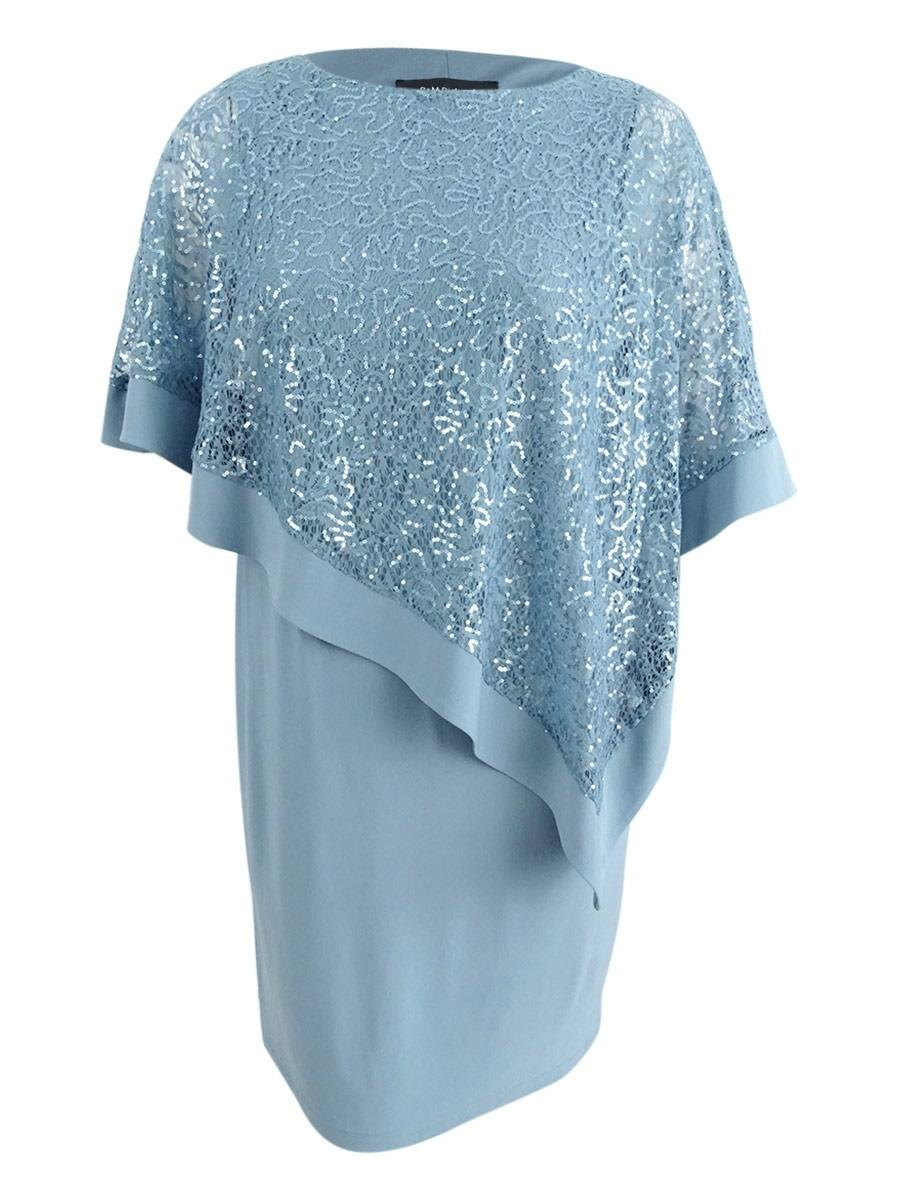 7144cdeed0d Details about R M Richards Women s Plus Size Sequined Lace Cape Dress 16W