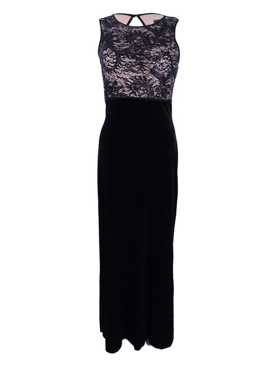Nw Nightway Womens Velvet Sleeveless Lace Overlay Semi Formal Dress