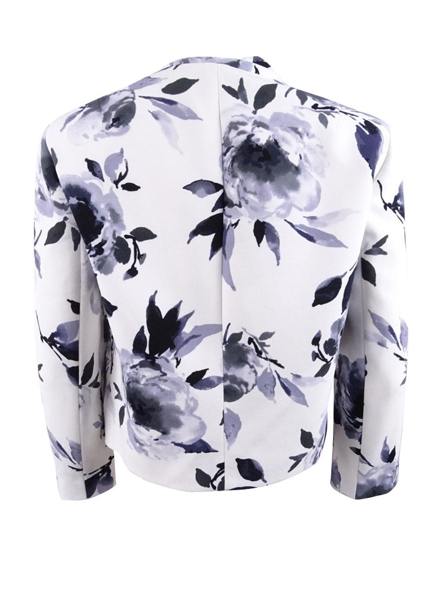 Kasper-Women-039-s-Floral-Print-Flyaway-Jacket thumbnail 4