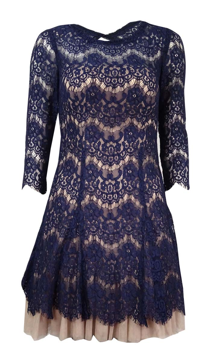 Betsy & Adam Navy Blue Nude Cocktail Dress Size 2 Lace Open Back ...