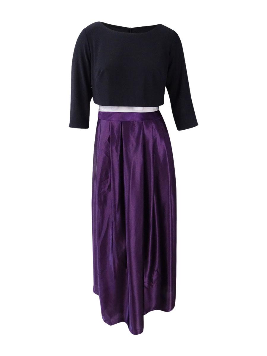 Details about Betsy & Adam Women\'s Plus Size Illusion Popover Ball Gown  (14W, Black/Plum)