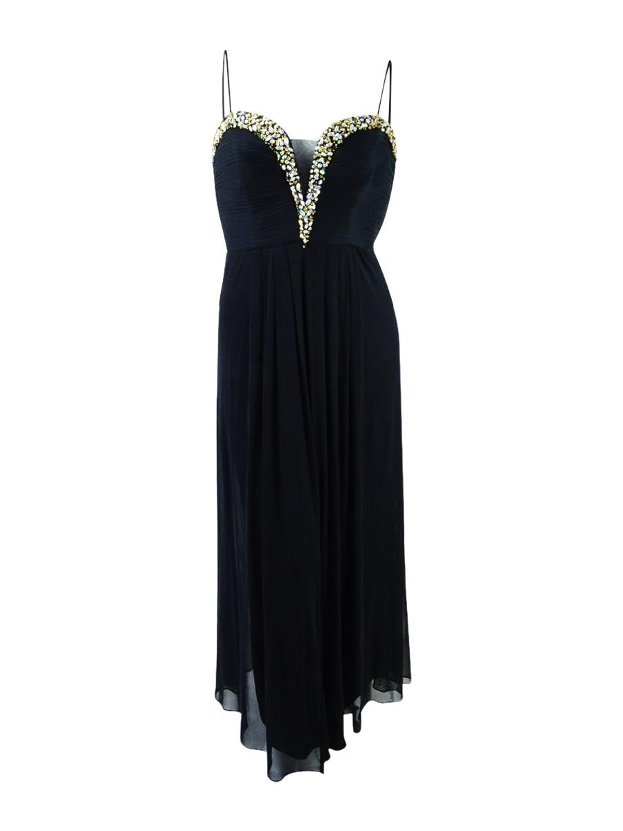 Betsy & Adam Black Women Size 18w Plus Embellished Ball Gown Dress ...
