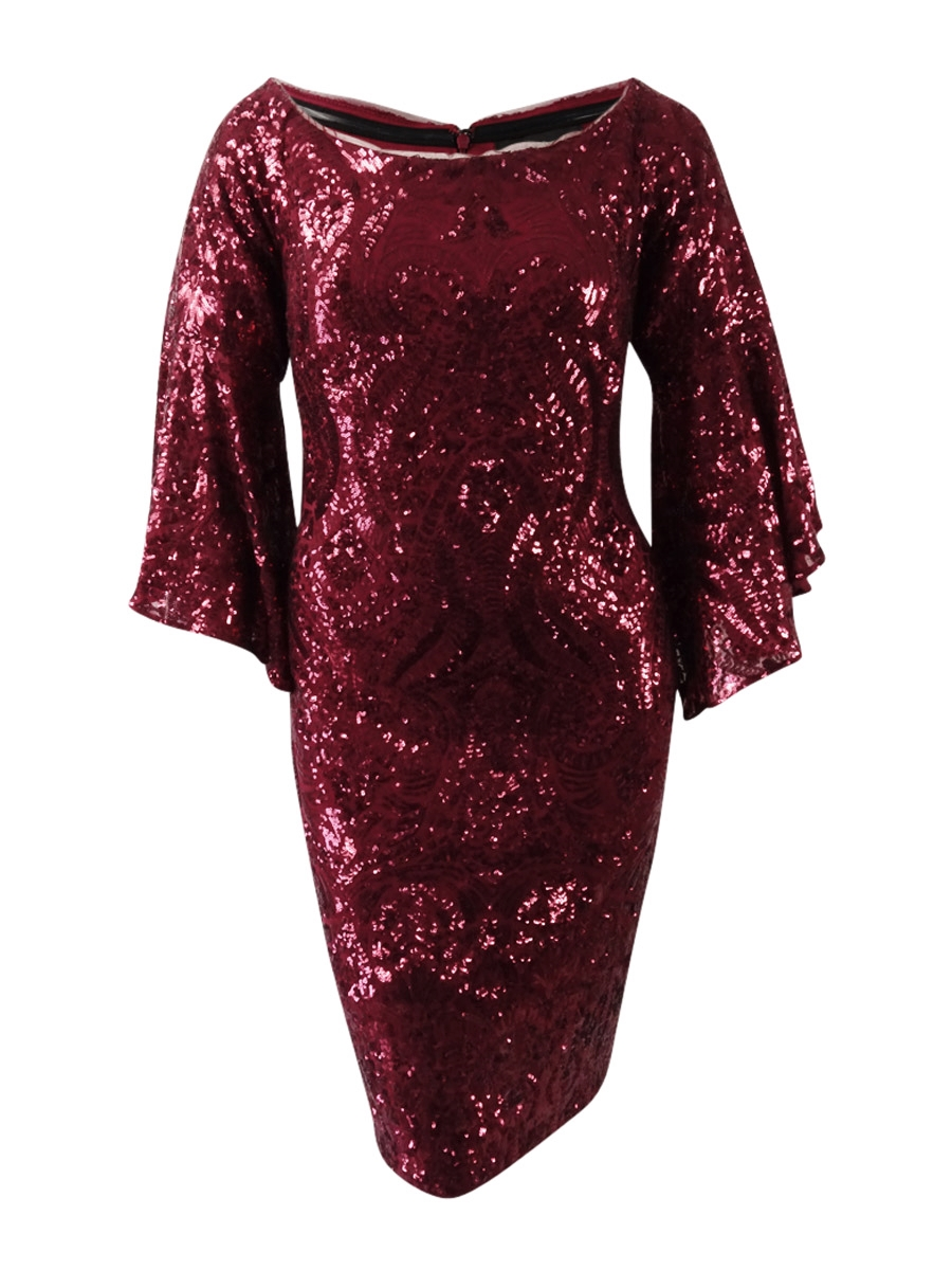262f33ced52 Betsy   Adam Women s Plus Size Sequined Bell-Sleeve Dress
