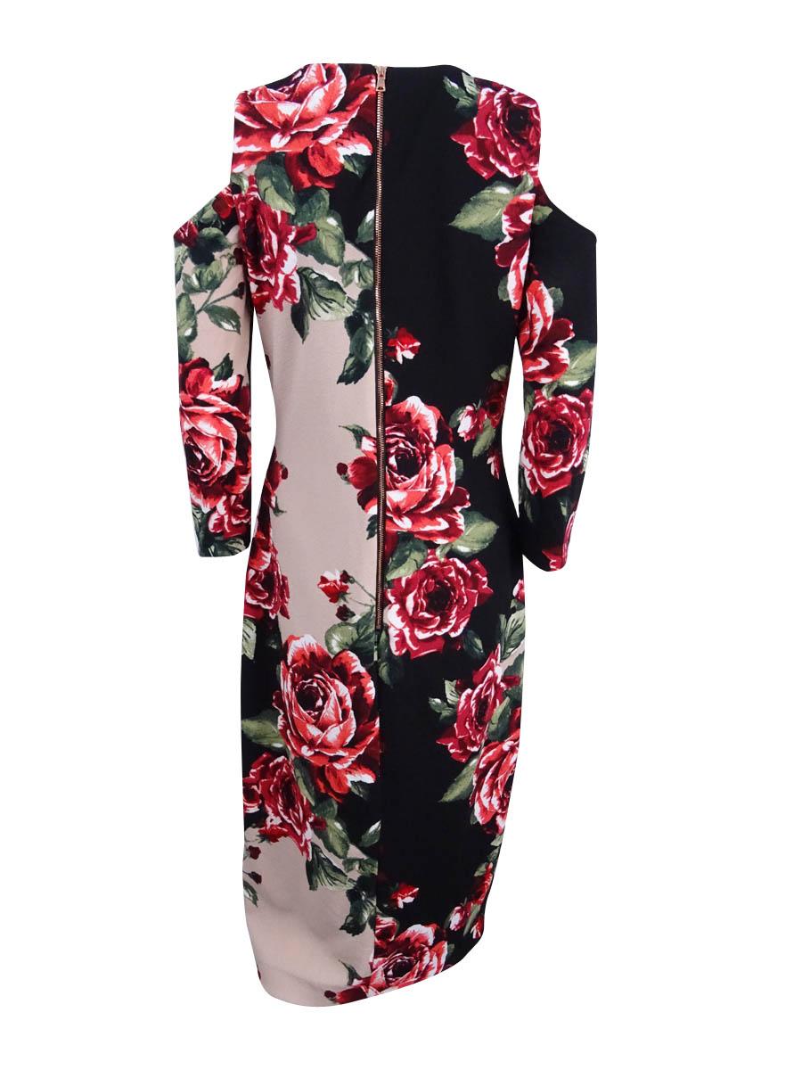 JAX-Women-039-s-Floral-Print-Cold-Shoulder-Sheath-Dress thumbnail 4