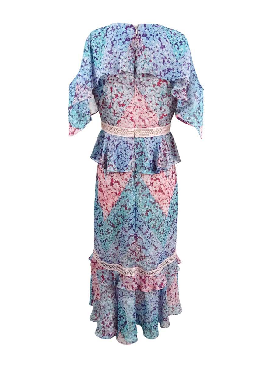 JAX-Women-039-s-Printed-Cold-Shoulder-Midi-Dress thumbnail 4